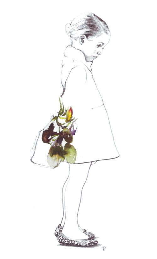 Illustration de la ligne de femme avec des fleurs