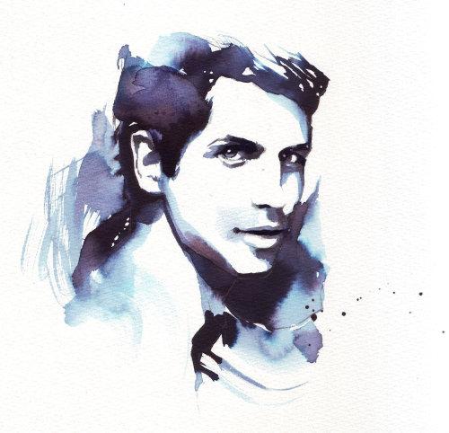 Portrait aquarelle de l'homme