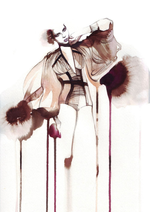 Watercolor dripping of model art