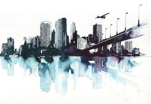 watercolor art of cityscape