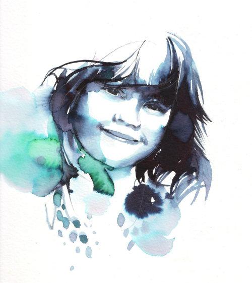 Watercolor art of little girl
