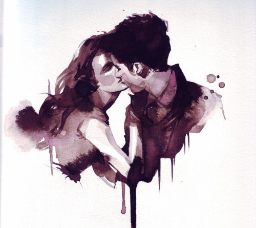 Watercolor couple kissing