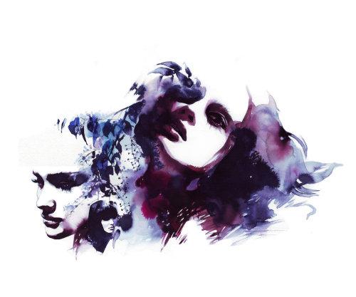 Art aquarelle des humeurs de la femme
