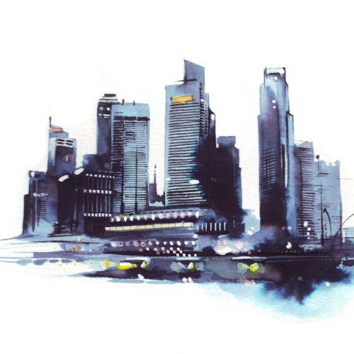 Cityscape watercolor illustration