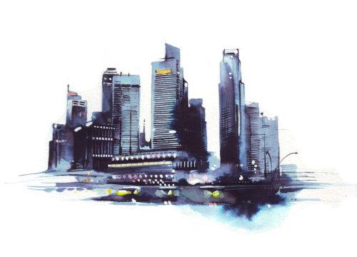 Illustration aquarelle paysage urbain