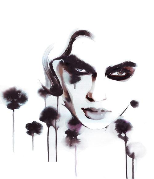 Watercolor dripping fashion art