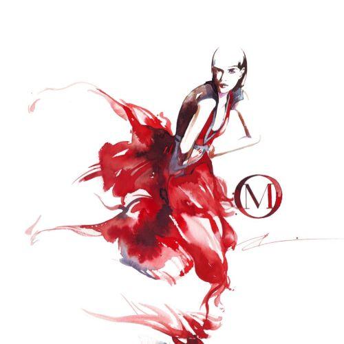 Fashion women in red dress