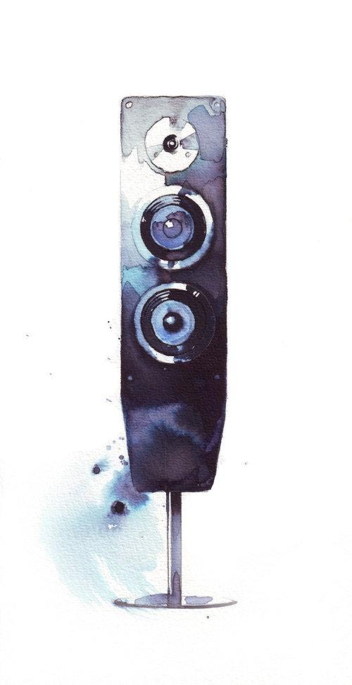 Aquarelle d'art de haut-parleurs