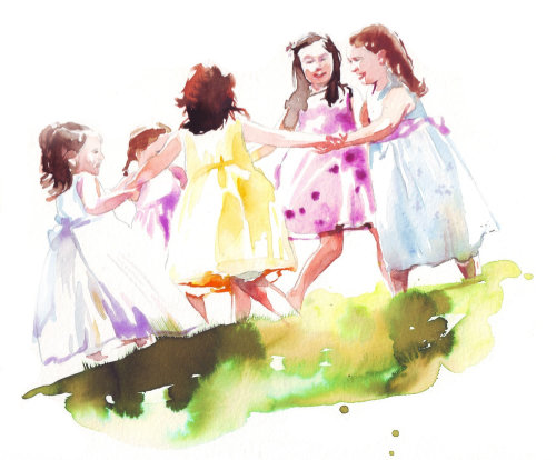 Watercolor drawing of children playing