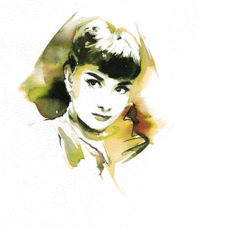 Watercolor art of seeing woman