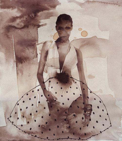 Mannequin en robe à pois