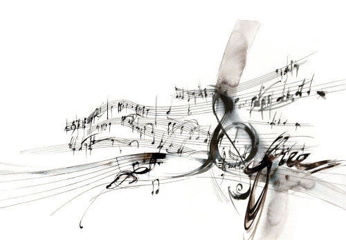 Line illustration of music notes
