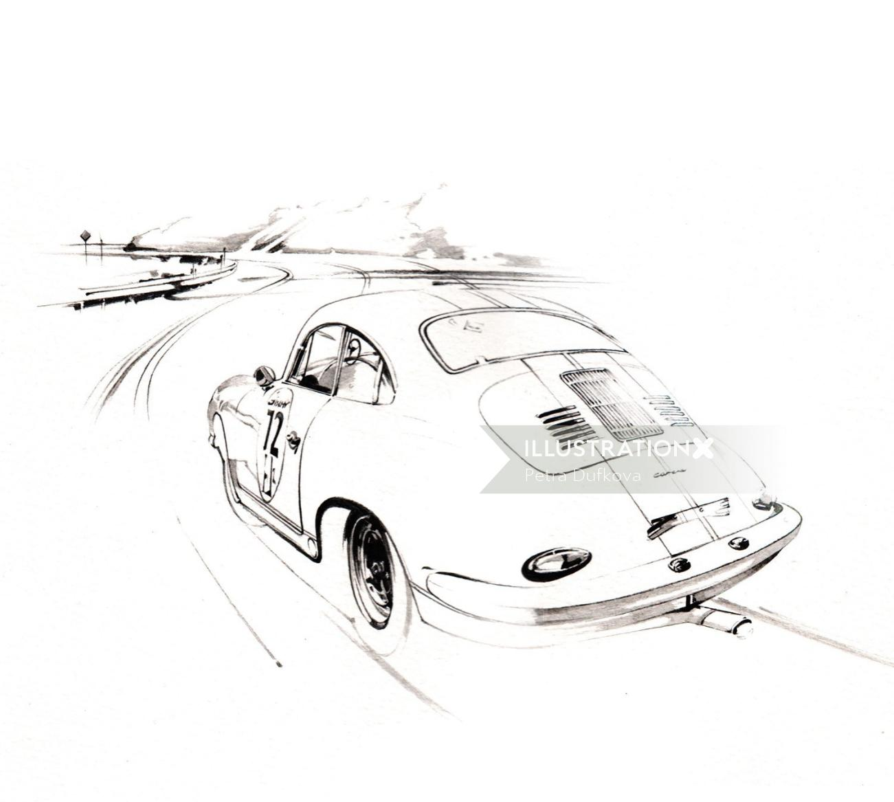 Line art of moving car