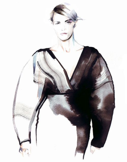 Water color art of fashion model