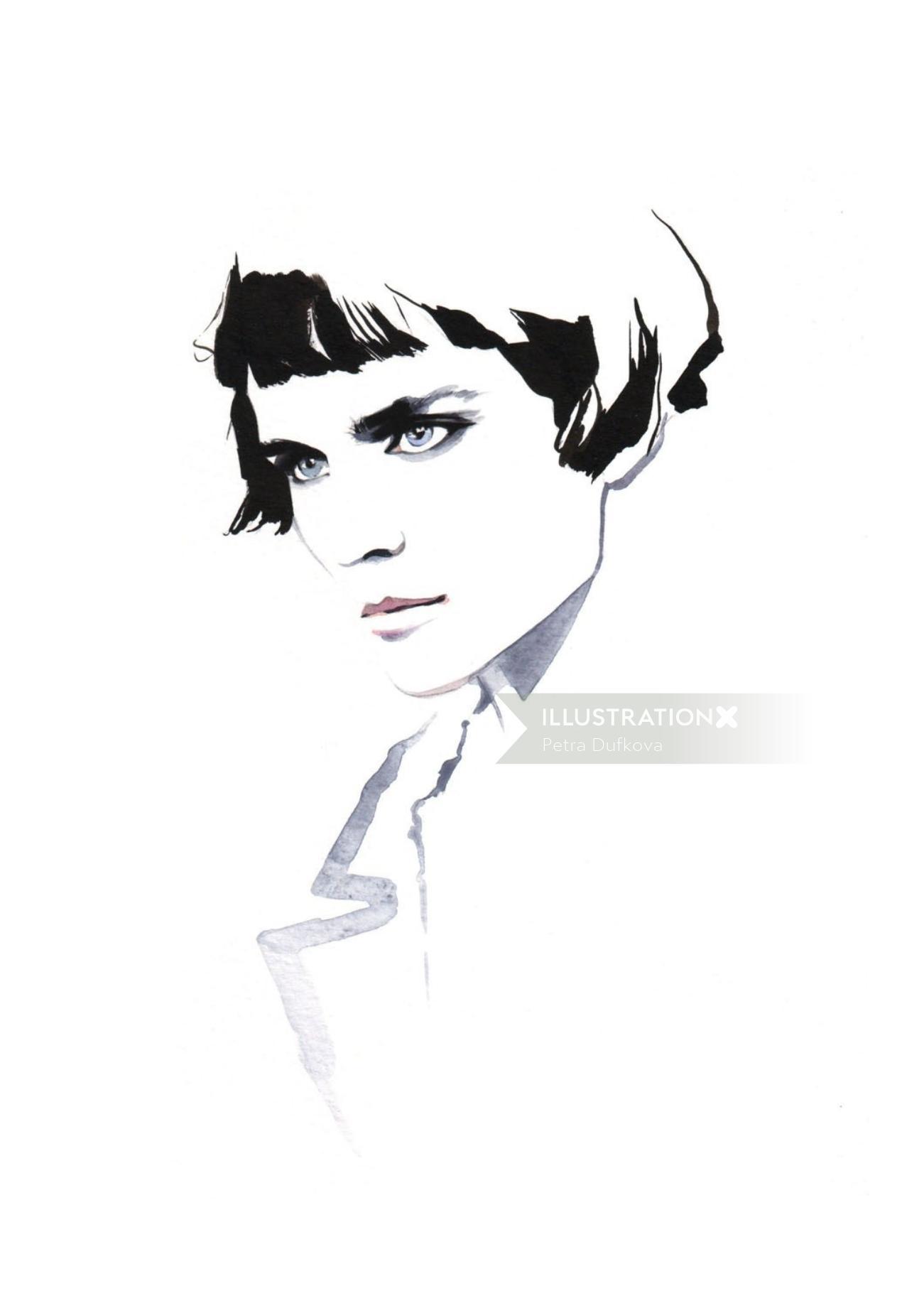 watercolor model illustration