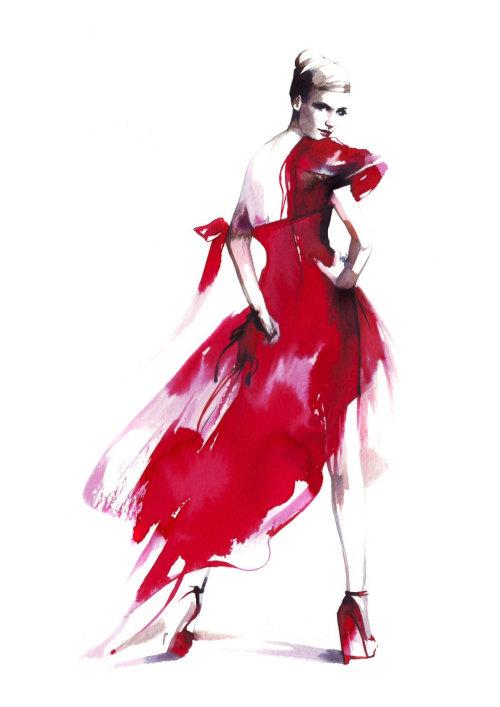 Robe de mode femme en redingote rouge