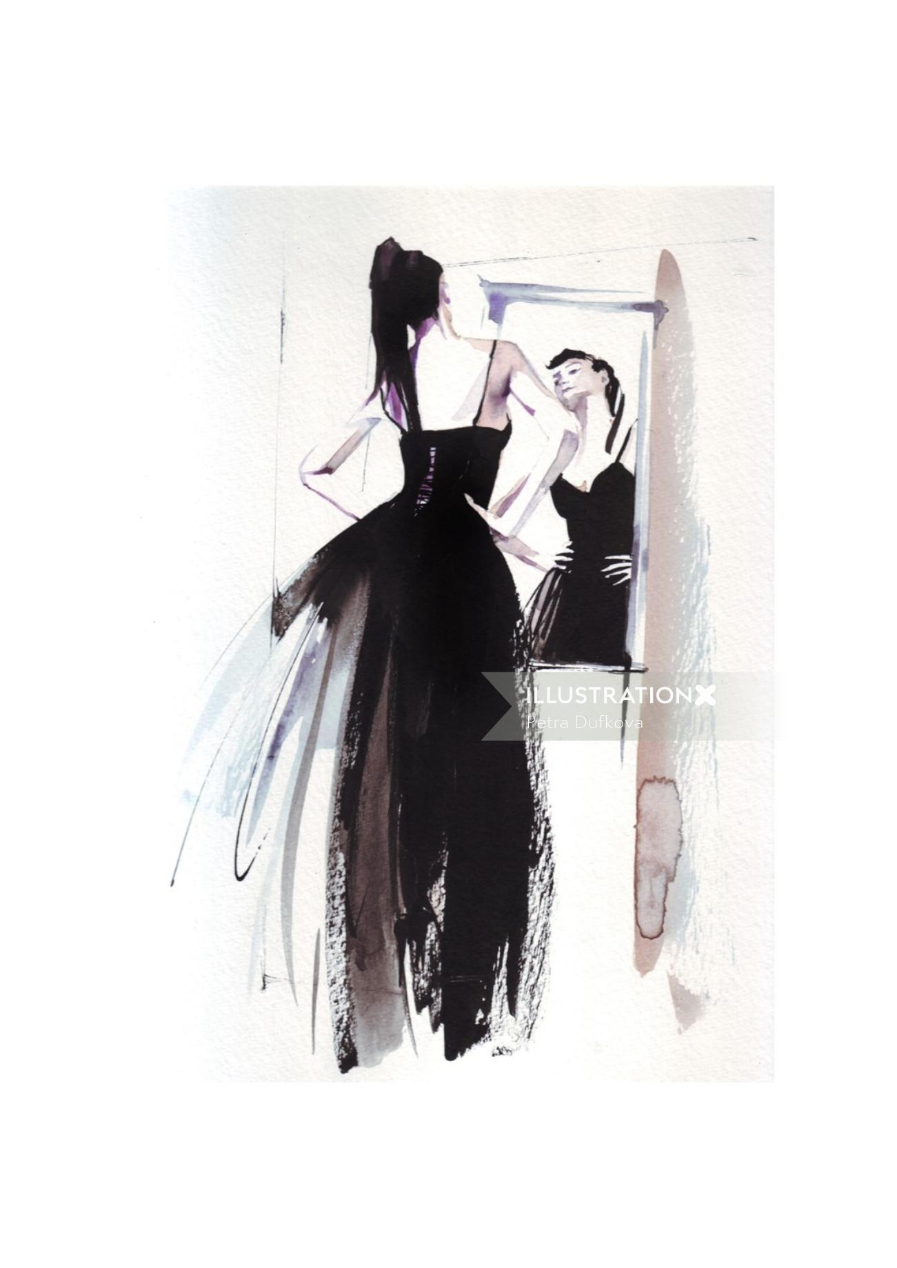 Black gown fashion illustration