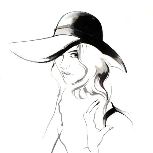 Fashion illustration of woman with hat