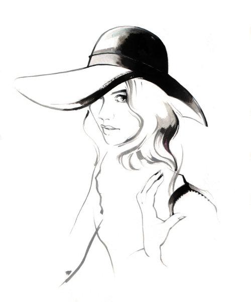 Illustration de mode de femme avec chapeau