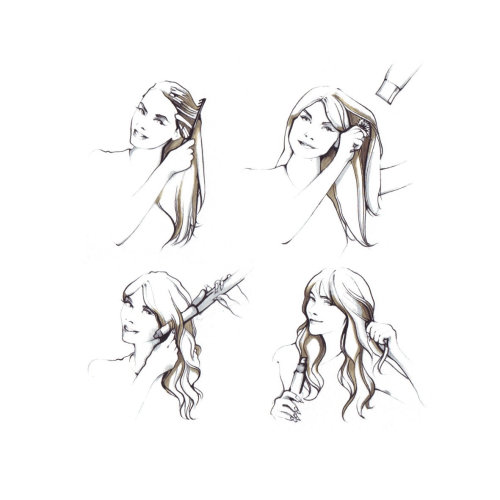 Beauty illustration of woman styling
