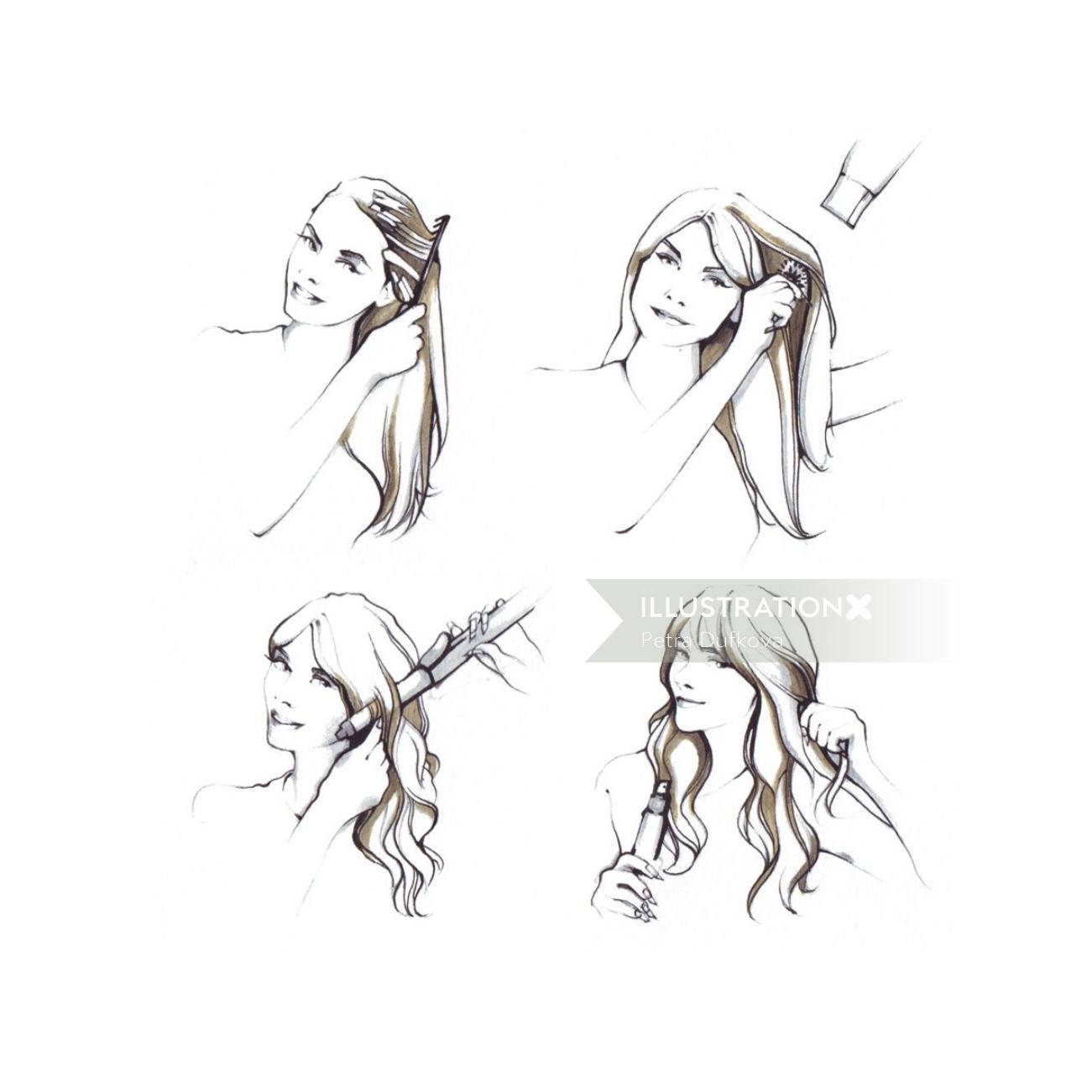 Beauty illustration of woman styling