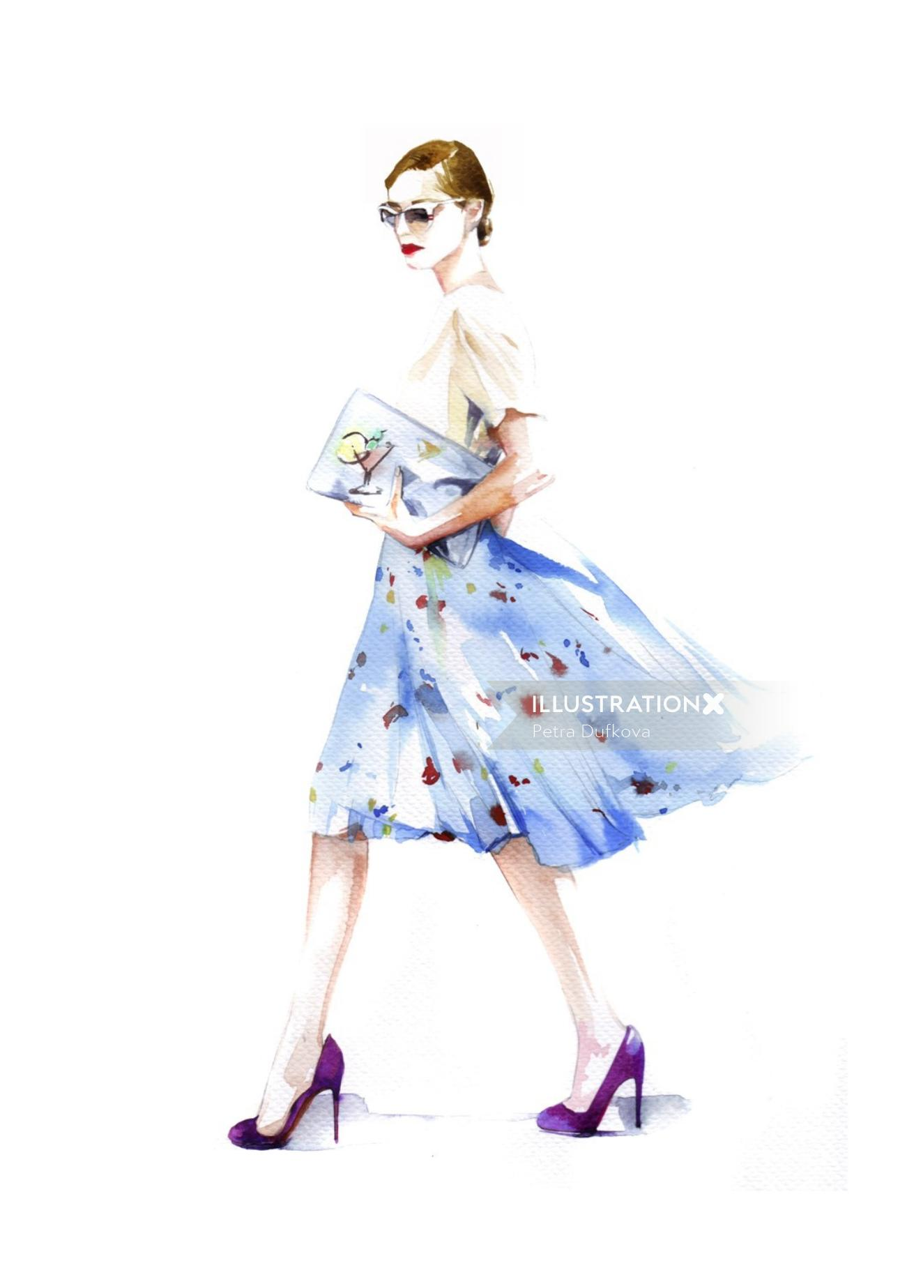 Fashion beauty with floral dress
