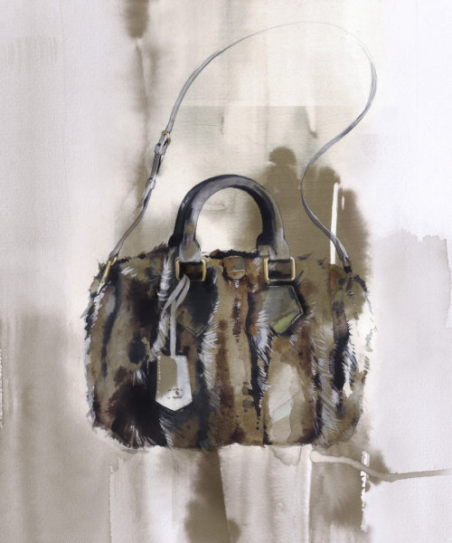 Fashion illustration of hand bag