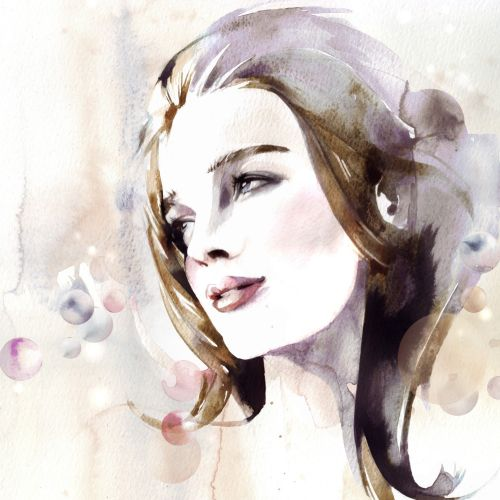 Fashion illustration of smiling woman
