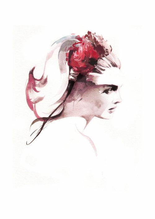 Illustration de beauté de personnes d'une femme avec des fleurs
