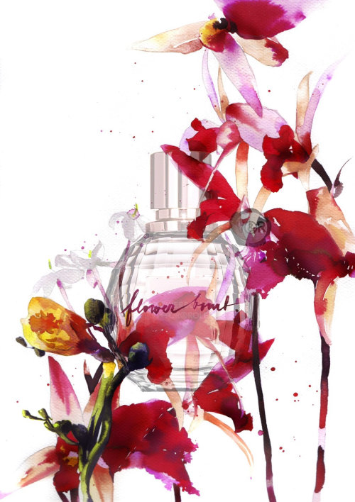 watercolor art of perfume