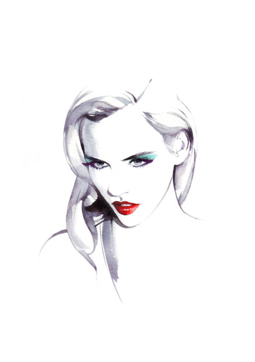 Beauty loose illustration of woman with red lips