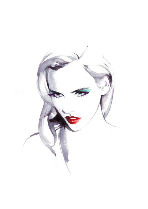 Beauté lâche illustration de femme aux lèvres rouges