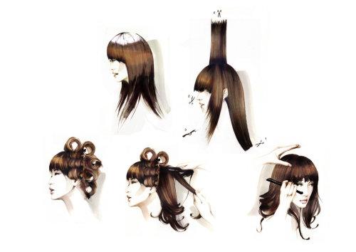 Illustration de la jeune fille faisant la coiffure