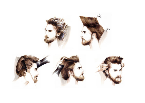 Beauty illustration of styling man