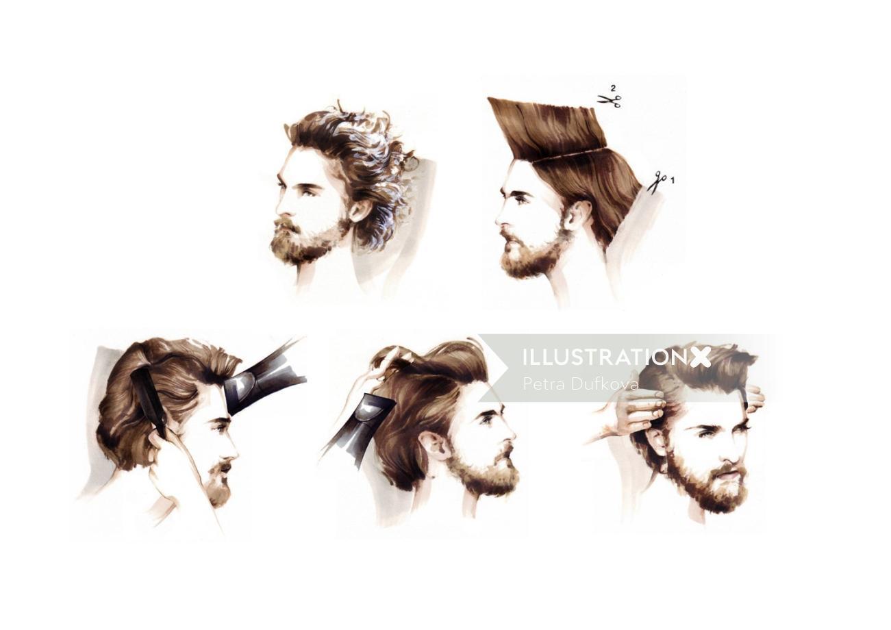 Beauty illustration of styling man