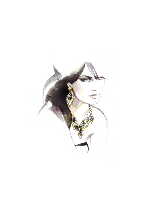 watercolor illustration of model with jewellery