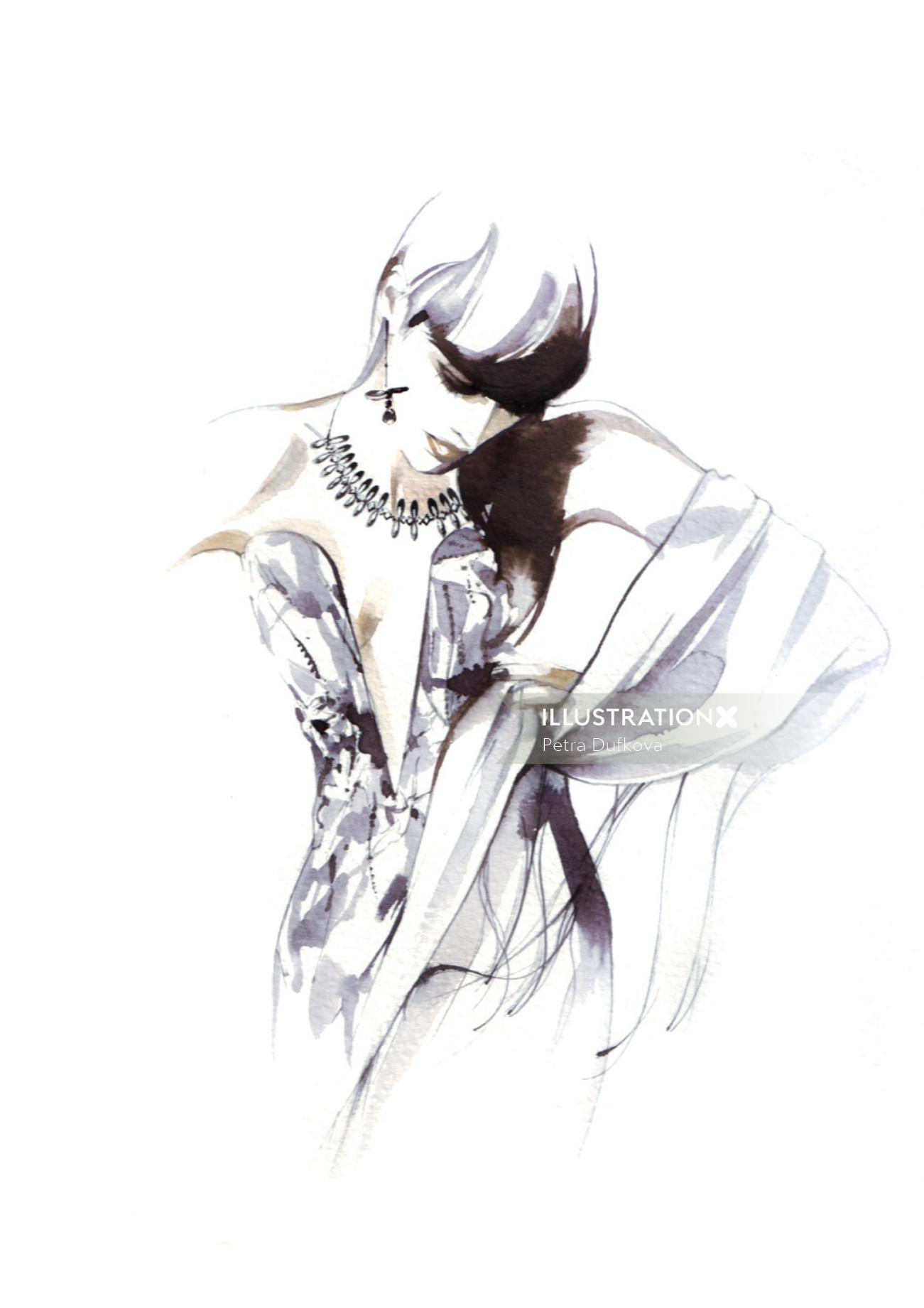 Beauty illustration with jewellery