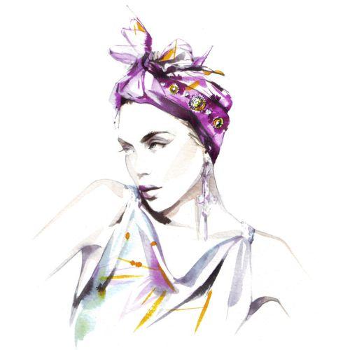 Watercolor beauty illustration woman model