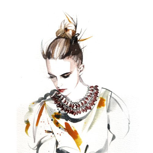 watercolor illustration of woman with jewellery