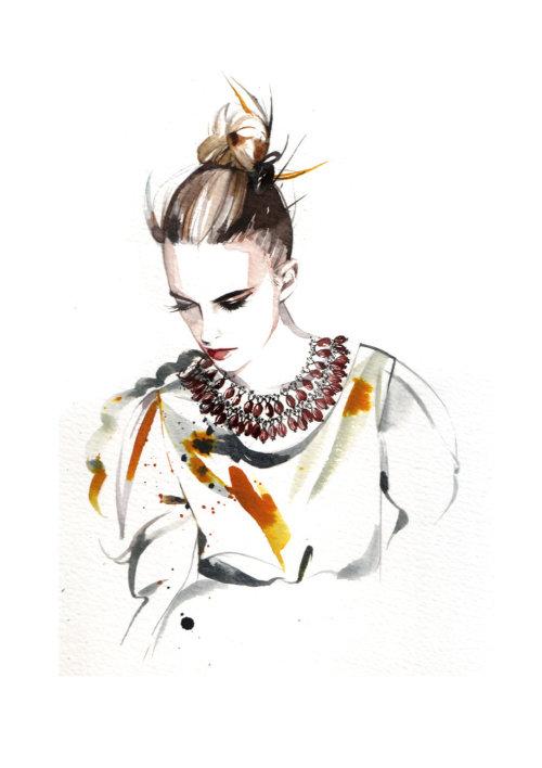 illustration aquarelle de femme avec des bijoux