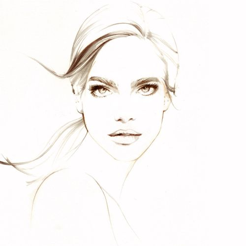 Beauty fashion line illustration