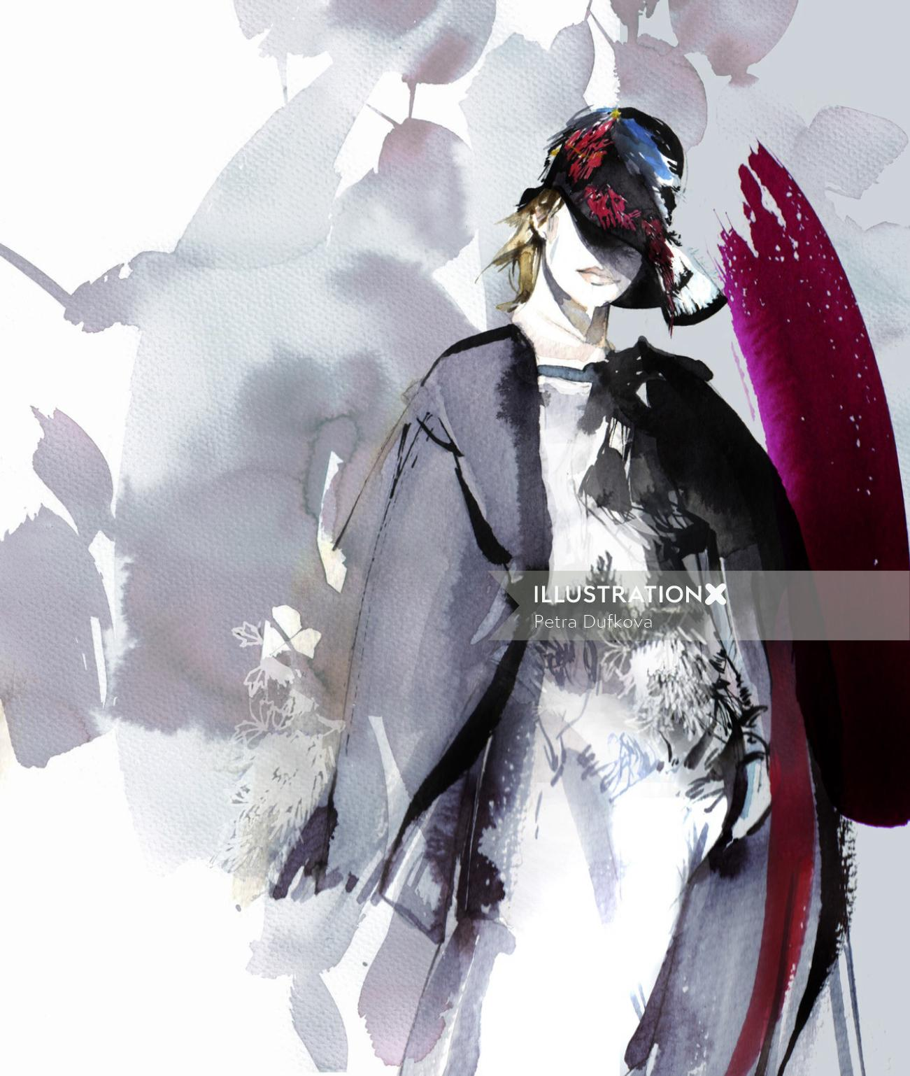 Girl in black dress fashion illustration