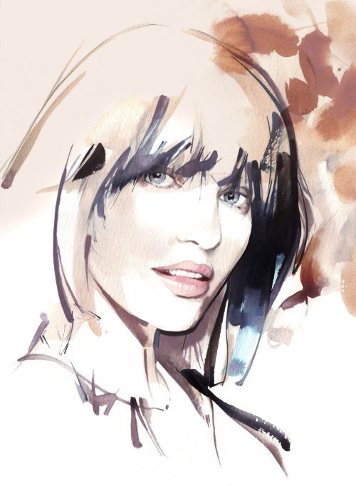 Oeuvre de portrait de femme avec coupe courte