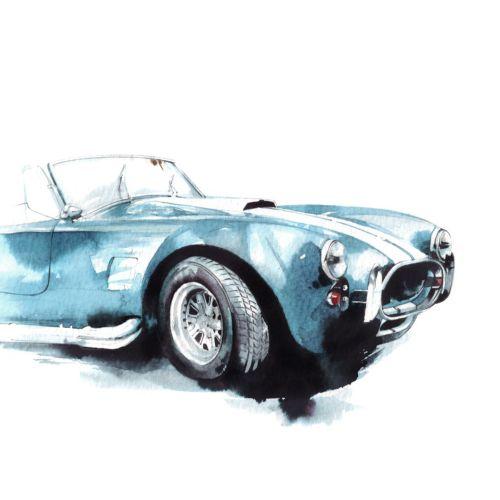 Watercolor art of car