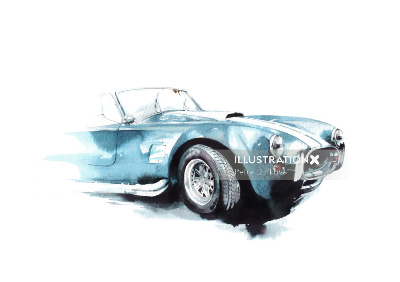 Watercolor art of car