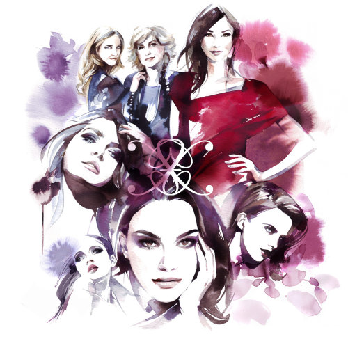 Fashion illustration of beautiful girls
