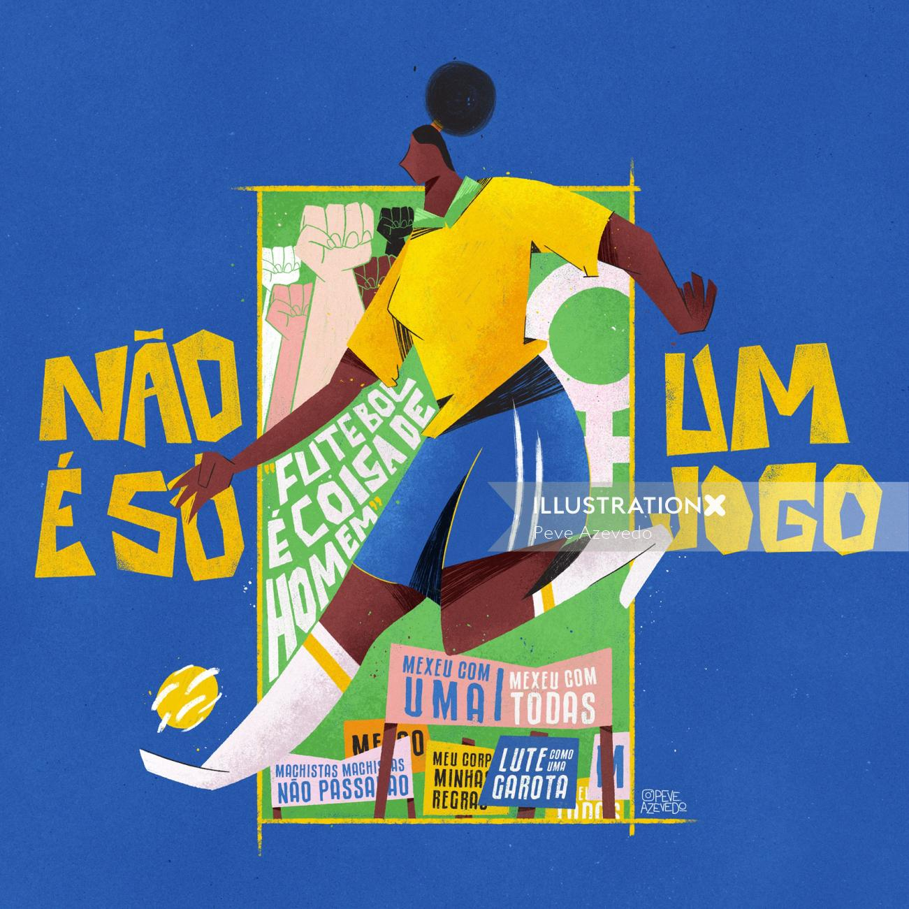 Graphic woman playing sports