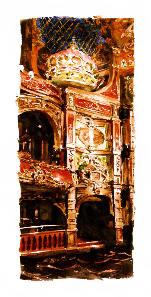 Architectural water colour painting of a Theatre interior