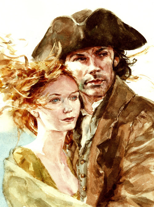 Water colour painting of Ross and Demelza