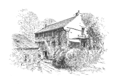 Stone house in the woods illustration